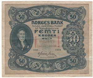 50 kroner 1939 B. Kv.1
