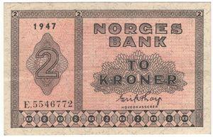 2 kroner 1947 E.5546772. Kv.1+