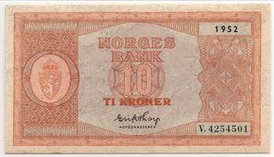 10 kroner 1952 i serie. V.4254501-02. Gradert til 63 og 64 EPQ hos PCGS. Kv.0-0/01