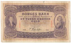 1000 kroner 1918 A.0164898. SS-Seddel. Kv.1-