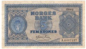 5 kroner 1945 A.6407137. Kv.0/01