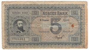 5 kroner 1888 Oscar II. No. 1944402. R-seddel. Kv.1-