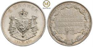 2 kroner 1907 Jub. Haakon VII. Kv.0