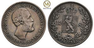 12 skilling 1873 Oscar II. Kv.1+/01