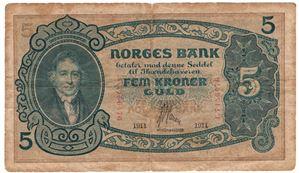 5 kroner 1911 C.7156476. Antikva. SSS-seddel. Kv.1-