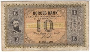 10 kroner 1897 C.0828401 Oscar II. SS-Seddel. Sign. Quale. Kv.1/1-