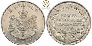 2 kroner 1907 m/gevær Haakon VII. Kv.0/01
