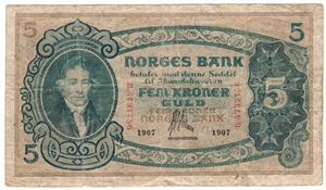 5 kroner 1907 B.4737756. R seddel Kv.1-