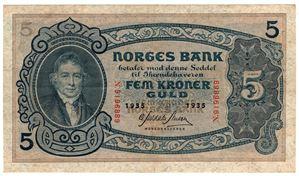 5 kroner 1935 N.9196889. S-seddel. Kv.1/1+