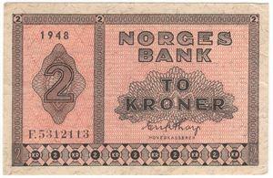 2 kroner 1948 F.5312113. Kv.1/1+