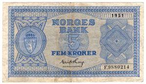 5 kroner 1951 F. Lavt opplag. Kv.1
