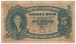 5 kroner 1912 D.1017938. Grotesk. S-seddel. Kv.1