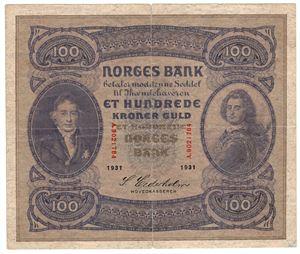 100 kroner 1931 A.9021784. Kv.1/1+