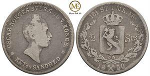 1/2 speciedaler 1850 Oscar I. NM.13. Kv.1-