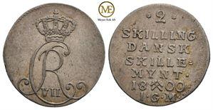 2 skilling 1800 Christian VII. NMD.87. Kv.1+