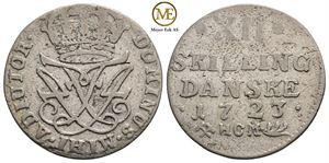 12 skilling 1723 Frederik IV. NMD.20. Kv.1/1+