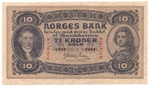 10 kroner 1942 B.2787973. Kv.0/01