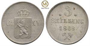 3 skilling 1868 Carl XV. NM.18. Kv.0/01