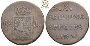 2 skilling 1825 Carl XIV Johan. NMD.51. Kv.1/1+
