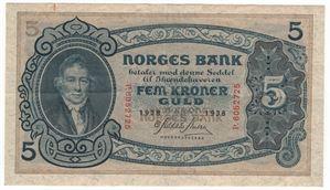 5 kroner 1938 P. Kv.1+