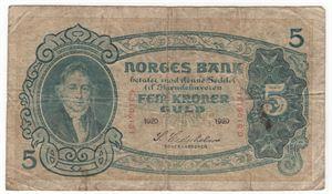 5 kroner 1920 G.3106131. Kv.1-/2