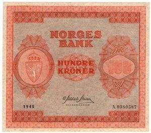100 kroner 1945 A.0380587. Kv.01