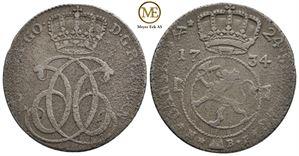 24 skilling 1734 Christian VI. NMD.4. Korrodert. Kv.1