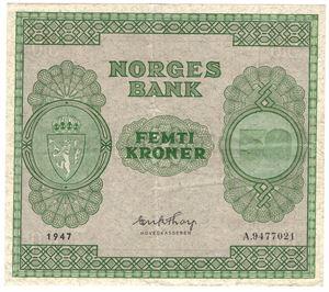 50 kroner 1947 A. Kv.1+
