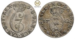 2 skilling 1782 Christian VII. NMD.80. Kv.01