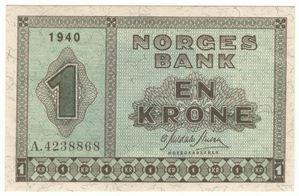 1 Krone 1940 A. Kv.0/01