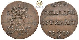 2 skilling 1810 Frederik VI. NMD.5a. Dobbelt preg på rosetter. Kv.01