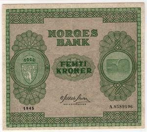 50 kroner 1945 A. Kv.01