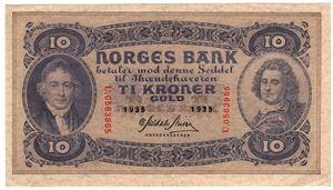 10 kroner 1935 U.05633965. Kv.01