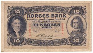 10 kroner 1921 J.4196070. Bredt årstall. Kv.01