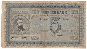 5 kroner 1897 C.9998828. Oscar II. UNIK seddel. Kv.1/1-