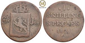 Skilling 1824 Carl XIV Johan. NM.60. Kv.1-