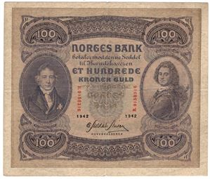100 kroner 1942 B.9158316. Kv.1/1+