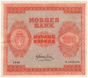 100 kroner 1946 B.1024139. Kv.1+