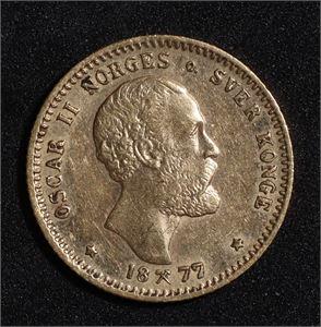 10 kroner 1877 Norge 1+/01 Gull
