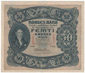 50 kroner 1942 C. Kv.1+