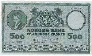 500 kroner 1960 A.1136199. Kv.1/1+