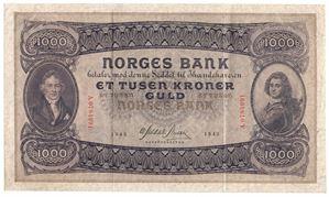1000 kroner 1942 A.0784991. Pen seddel. Kv.1+