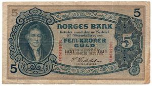 5 kroner 1931 M.642201. SSS-seddel. Kv.1/1-