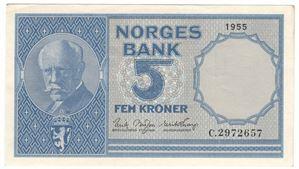 5 Kroner 1955 C. Kv.01