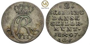 2 skilling 1807 Christian VII. NDM.93. Kv.1+