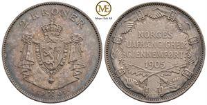 2 kroner 1907 m/g. Haakon VII. Kv.0/01
