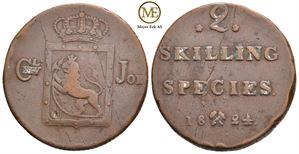 2 skilling 1824 Carl XIV Johan. NMD.50. Kv.1/1+